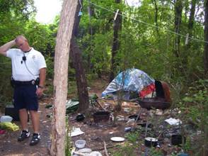 Homeless encampment in woods